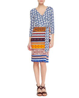 Diane von Furstenberg New Julian Two 3/4-Sleeve Printed Wrap Dress, Blue/Desert Sand