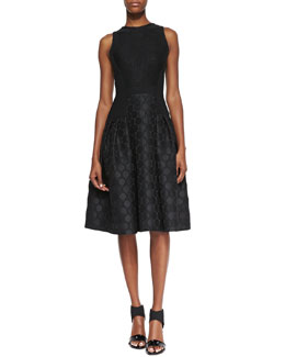 Carmen Marc Valvo Sleeveless Dot Textured Skirt Cocktail Dress, Black