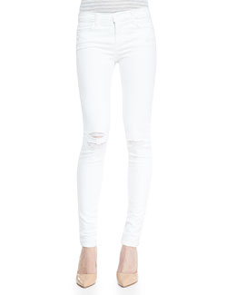 J Brand Jeans Mid-Rise Super-Skinny Destroyed Jeans