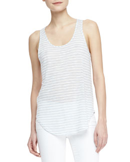 J Brand Jeans Shore Faded-Stripe Slub Tank