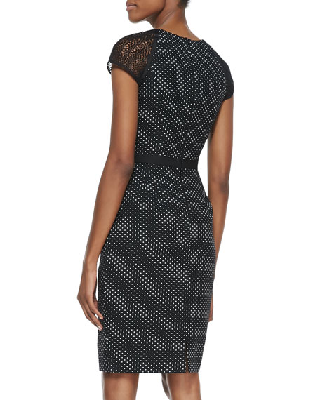 Cap-Sleeve Swiss-Dot Sheath Dress, Black/White