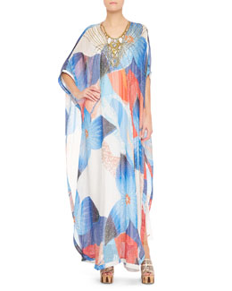 Diane von Furstenberg Clare Beaded Technicolor Long Dress, Multicolor