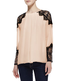 Alice + Olivia Danyelle Lace/Silk Blouse