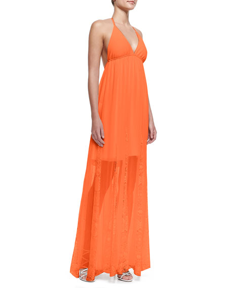 McBain Lace-Stripe Maxi Dress
