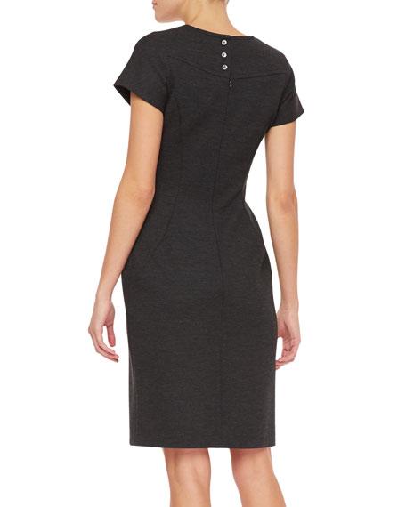 Short-Sleeve Wool Ponte Dress, Charcoal