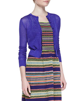 M. Missoni Cropped Solid Cardigan, Purple