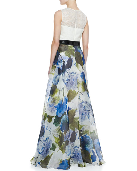 Sleeveless Floral Skirt Ball Gown, Ivory/Multicolor