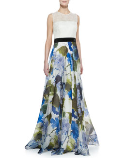 Carmen Marc Valvo Sleeveless Floral Skirt Ball Gown, Ivory/Multicolor