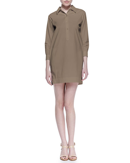 Bracelet-Sleeve Shirtdress, Tobacco