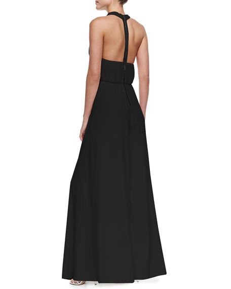 Gab Pleated-Jersey Halter-Top Jumpsuit, Black