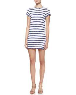 Alice + Olivia Stefan Striped Short-Sleeve Dress