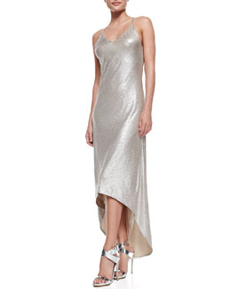 Alice + Olivia Lena Hi-Lo Metallic Maxi Dress