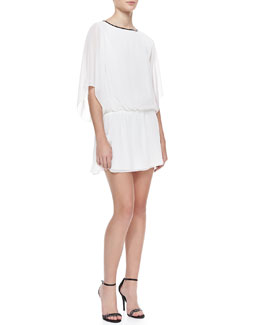 Alice + Olivia Jem Leather-Trim Chiffon Dress
