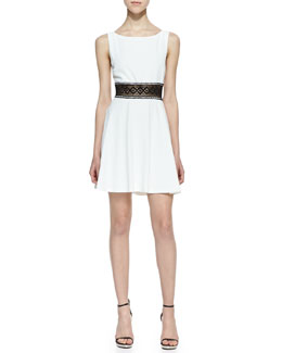 Alice + Olivia Rowan Lace-Waist Dress