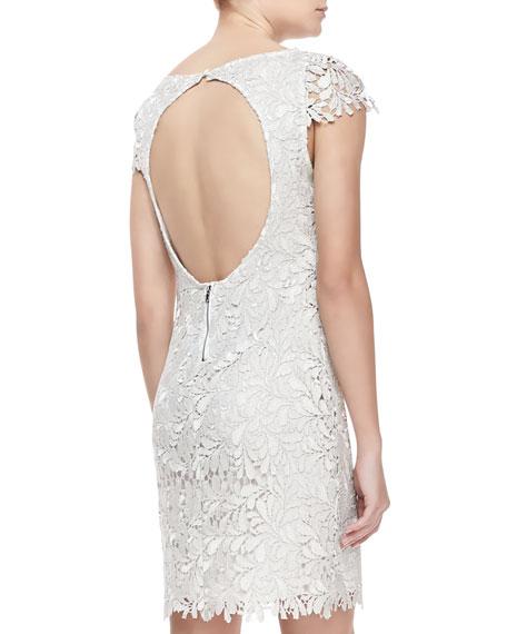 Clover Metallic Lace Open-Back Dress