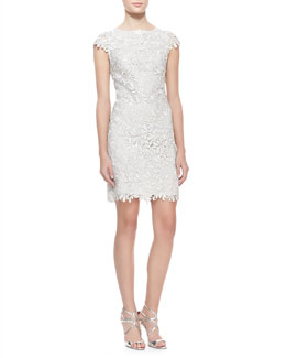 Alice + Olivia Clover Metallic Lace Open-Back Dress