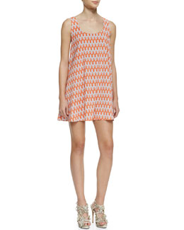 Alice + Olivia Estelle Printed A-Line Sleeveless Dress