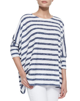 Alice + Olivia Patti Striped-Jersey Tee Dress