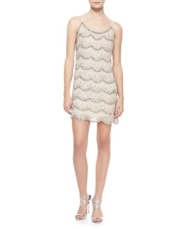 Alice + Olivia Wes Scalloped Beaded Shift Dress