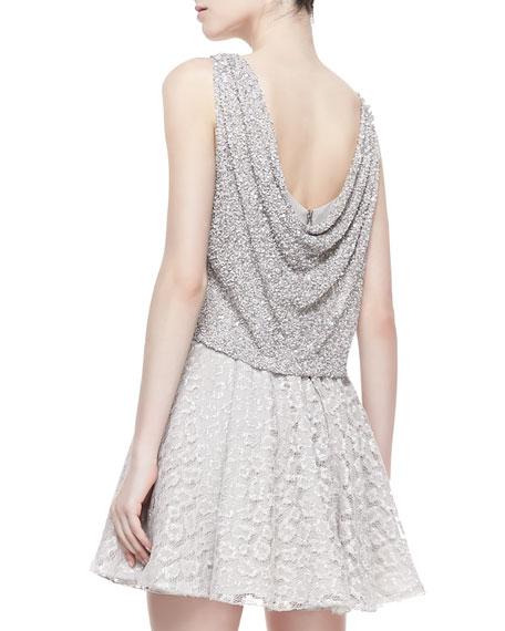 Hilta Beaded Combo Swing Dress