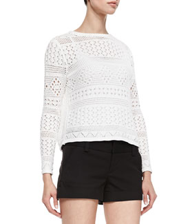 Alice + Olivia Dorie Cropped See-Through Knit Sweater