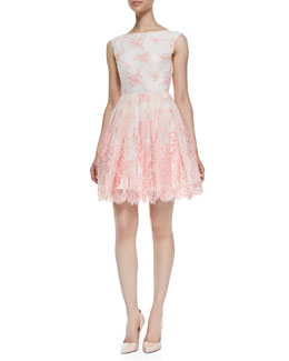 Alice + Olivia Fila Lace-Overlay Sleeveless Dress, Pink Icing