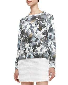 Theory Incliner Z Rave Printed Sweatshirt, Gray/White/Taupe