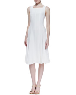 Theory Mayanna Selection Flared Dress, Open Off White