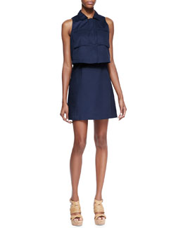 Theory Gemine Taranto Pop Top Sleeveless Dress, Uniform Blue