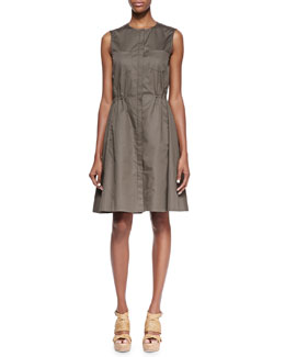 Theory Ketan Taranto Cinched-Waist Cotton Dress, Mud