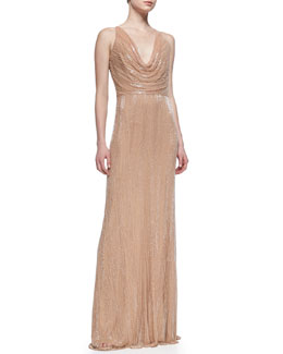 David Meister Signature Cowl-Neck Beaded & Sequined Gown, Nude