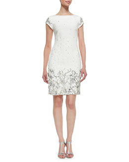 Marchesa Shift Style Beaded & Sequined Cocktail Dress, Ivory