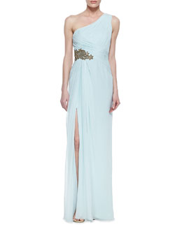 Marchesa One-Shoulder Beaded Side Gown, Cloud