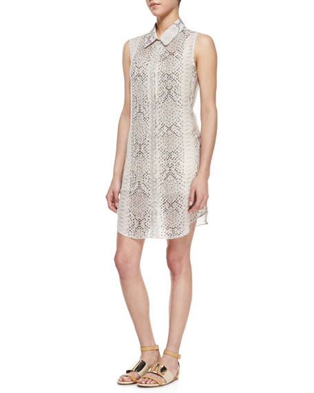 Silk Anaconda-Print Sleeveless Shirtdress