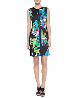 Elie Tahari Mila Front-Zip Printed Dress