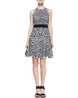Milly Zebra-Print A-Line Dress