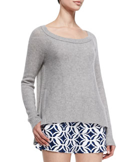 Diane von Furstenberg Long-Sleeve Cashmere Sweater, Heather Gray