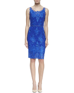 Notte by Marchesa Embroidered Lace Cocktail Dress with Skinny Belt, Cobalt