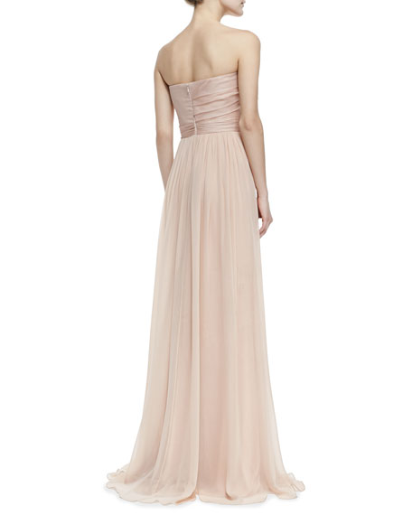 Strapless Organza Bow-Bodice Gown