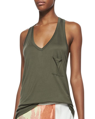 V-Neck Racerback Pocket Tank