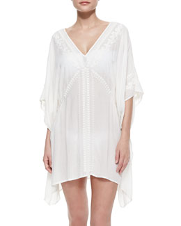 Nanette Lepore Deja-Blue Embroidered Caftan Coverup, White