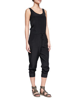 Vince Sleeveless Charmeuse Drawstring Jumpsuit, Black