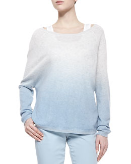 Vince Ombre Long-Sleeve Knit Sweater, Caribbean Combo