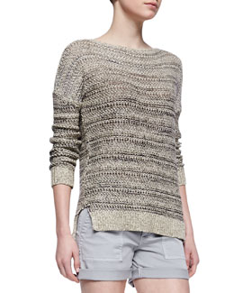 Vince Drop-Shoulder Boat-Neck Sweater
