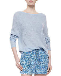 Vince Lightweight Loose Cashmere Sweater, Chambray