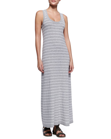 Striped Slub Sleeveless Maxi Dress, Heather Gray