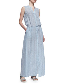 Vince Button-Front Silk Maxi Dress, Blue