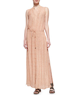 Vince Button-Front Silk Maxi Dress, Coral
