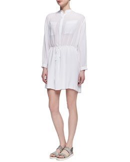 Vince Drawstring-Waist Easy Shirtdress, White
