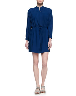 Vince Drawstring-Waist Easy Shirtdress, Royal Blue